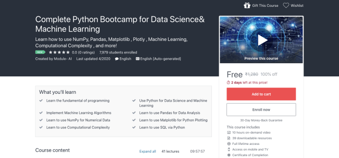 Complete Python Bootcamp for Data Science& Machine Learning