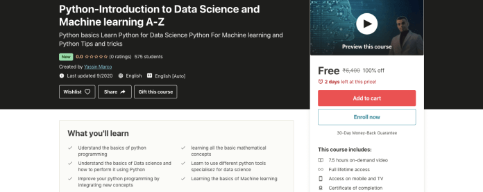 Python-Introduction to Data Science and Machine learning A-Z