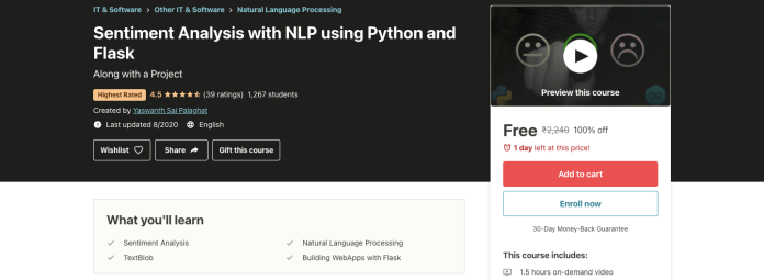 Sentiment Analysis with NLP using Python and Flask
