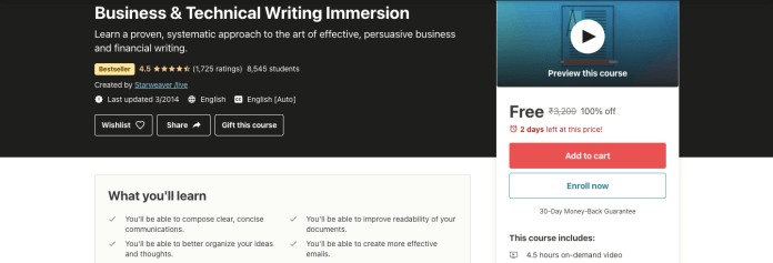 Business & Technical Writing Immersion