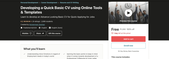 Developing a Quick Basic CV using Online Tools & Templates
