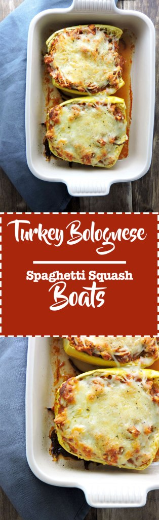 Turkey Bolognese Spaghetti Squash Boats