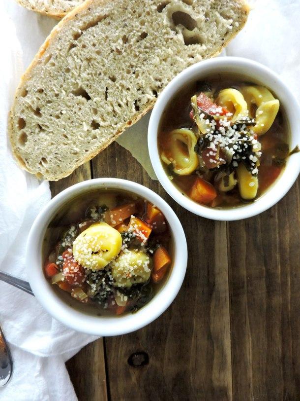 Healthy Italian Minestrone with Tortellini
