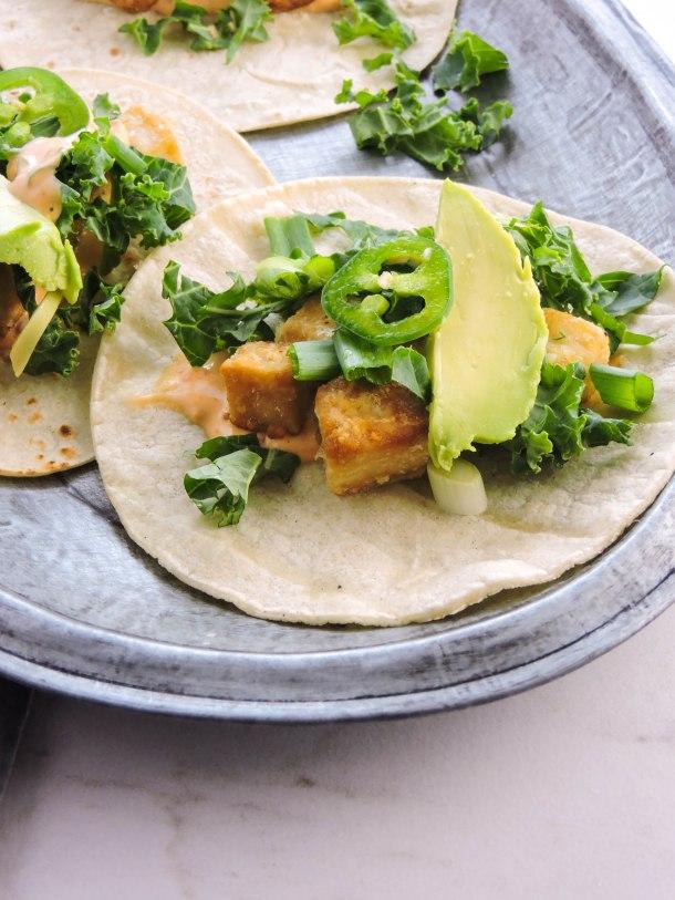 Crispy Tofu Street Tacos with Chili Sauce
