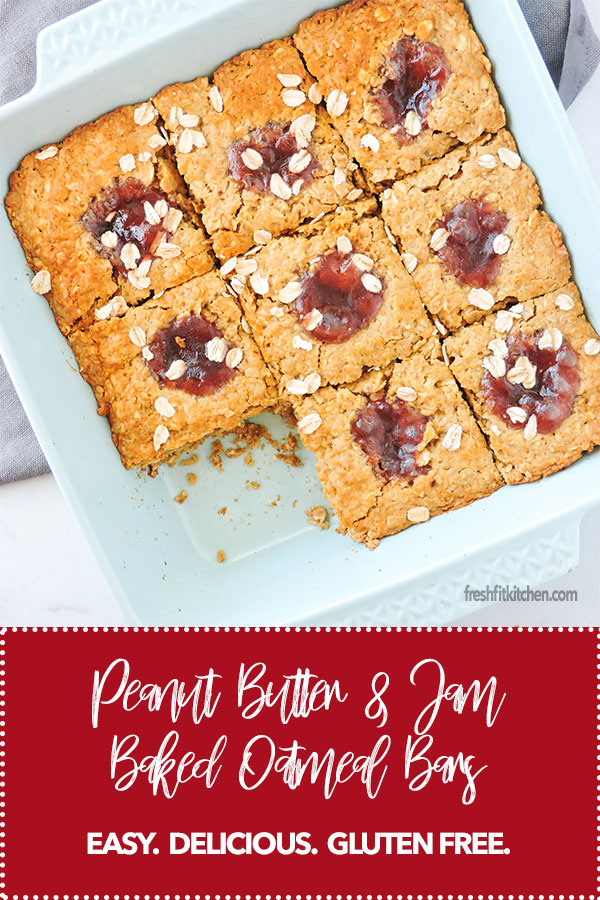 Peanut Butter and Jam Baked Oatmeal Bars