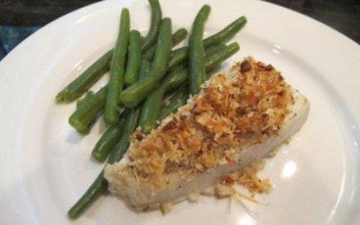 Crispy Almond-Parmesan Halibut