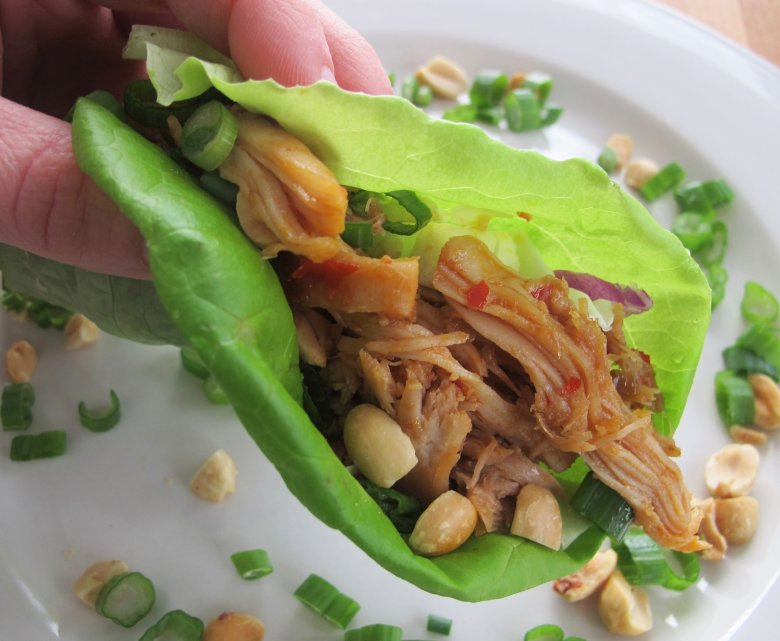 These Spicy Chinese Chicken Lettuce Wraps are crowd-pleasing, finger-licking good! Vary the heat level by adjusting the crushed red pepper in the sauce.
