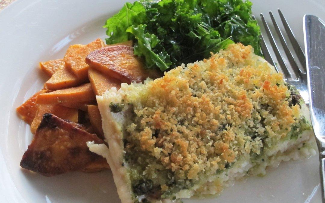 3 Ingredient Roasted Fish with Pesto