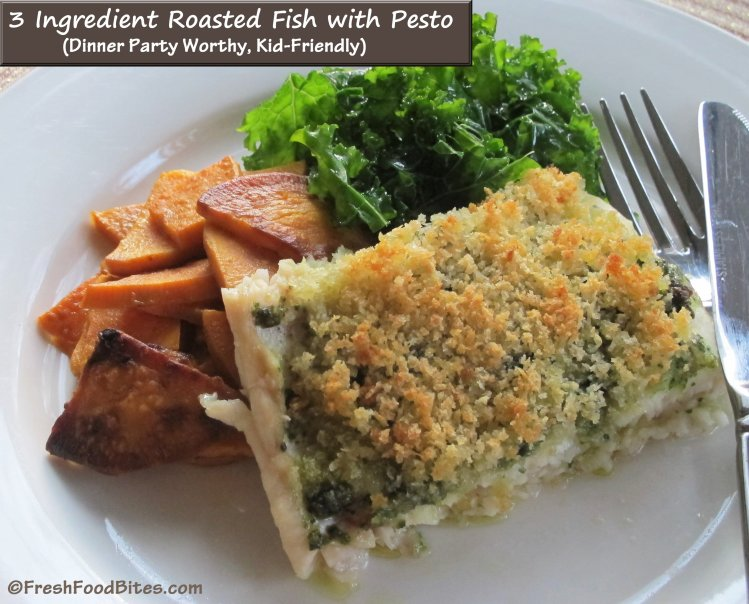Super simple roasted fish with pesto that's fancy enough for a dinner party and kid-friendly at the same time!