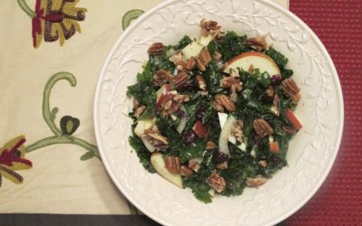 Hand-Wilted Kale Apple Salad with Honey-Roasted Pecans