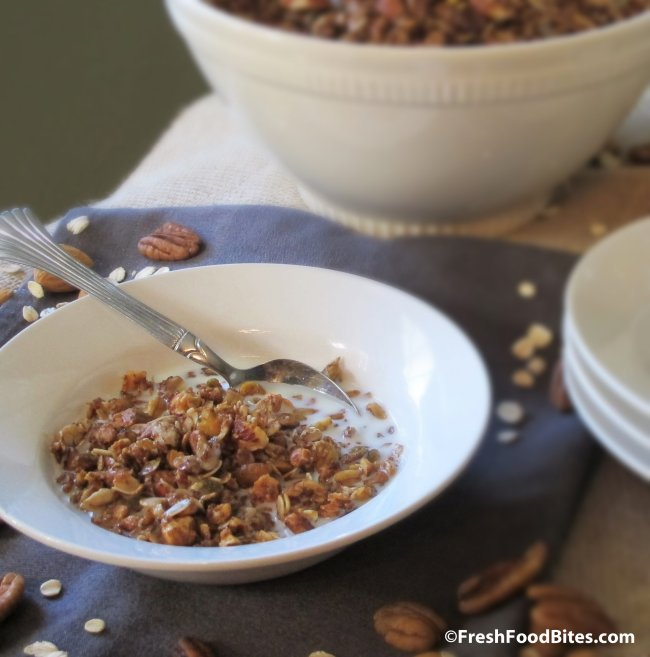 Swap this Nutty Cinnamon Granola for your favorite boxed cereal for a crunchy, satisfying breakfast. Plus, it's super quick to make!