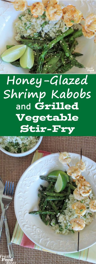 Fresh and full of flavor, this Honey-Glazed Shrimp Kabobs and Grilled Vegetable Stir-Fry recipe is sure to be a hit. A simple, 4-ingredient honey-sweetened glaze tops it all off for a big burst of flavor. Stir-frying on the grill is quick and easy, and the shrimp kabobs take just minutes to cook on the grill. It's a win-win!