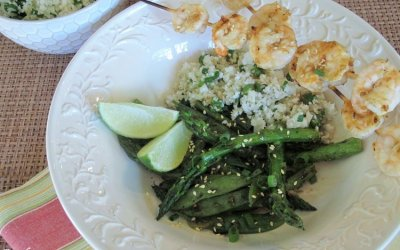 Honey-Glazed Shrimp Kabobs and Grilled Vegetable Stir-Fry