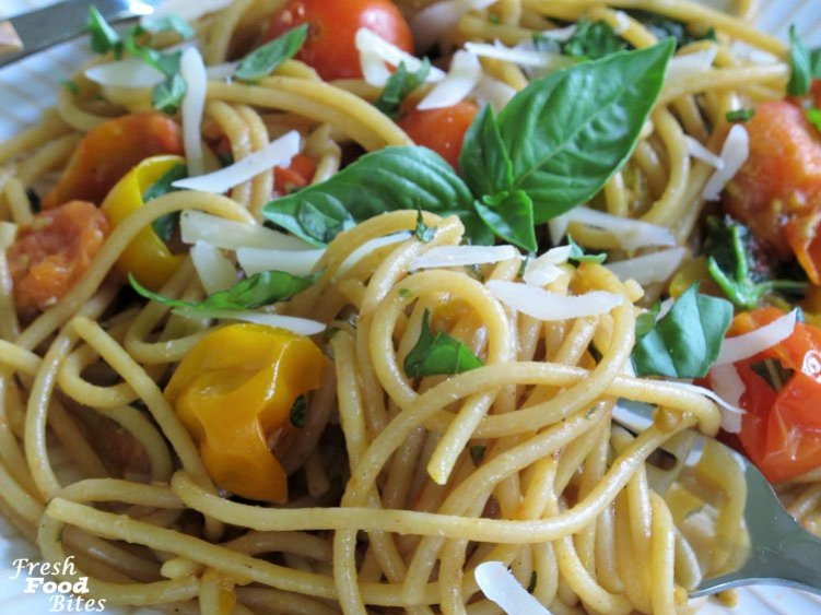 For a big burst of fresh summer flavor, try this Fresh Tomato-Basil Pasta Sauce. It's a quick and easy meal for those nights you don't have a lot of time to get dinner on the table. The freshest summer ingredients like tomatoes, basil, and garlic don't need a lot of help to make your favorite pasta taste like you spent all day in the kitchen.