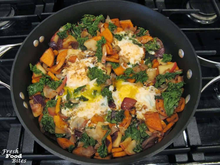For a Fall ingredient inspired (hello apples, kale, and sweet potato) brunch (or lunch or dinner) recipe, try this nutrition packed One Pan Sweet Potato-Kale Fried Egg Hash. Besides being loaded with nutrition, especially vision-boosting Vitamin A and immune-boosting Vitamin C, this meal (which tastes great at any time of the day) is full of flavor and takes just over 30 minutes to make.