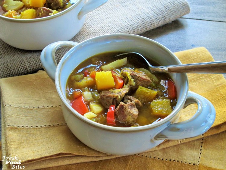 Savory, with sweet surprises throughout, this Moroccan Spiced Pumpkin-Lamb (or Pork) Stew is sure to satisfy and warm you up on a chilly day. It's loaded with vegetables, starting with fresh pumpkin (yes, you can cook certain pumpkins!), parsnips, and sweet peppers, to name a few, The lamb (or pork if you'd prefer to use that meat) is seasoned with a Moroccan inspired seasoning blend which is not as exotic as it may seem.