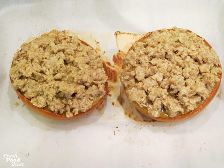 17. Top filling with streusel topping; bake until golden brown.