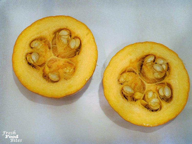 3. Cut pumpkin horizontally in half