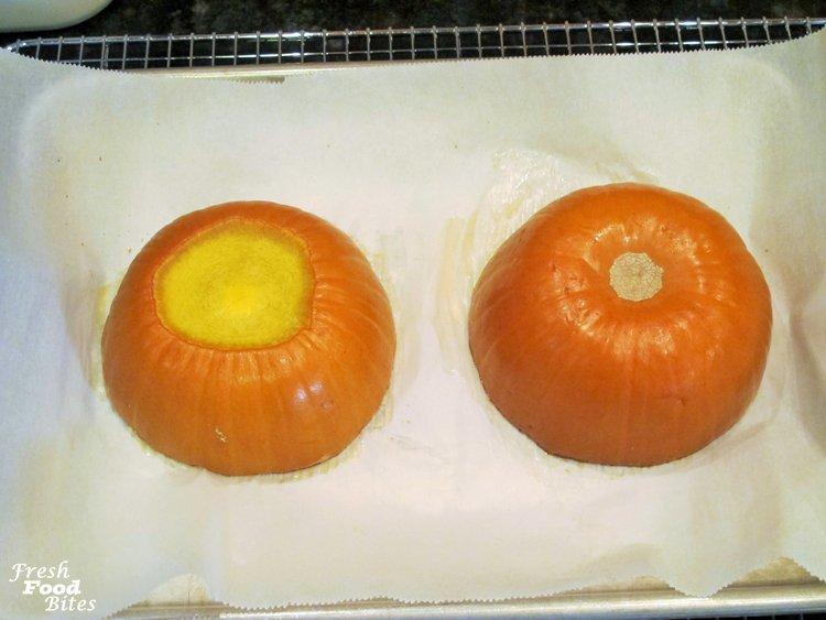 6. Bake pumpkin halves 30 minutes
