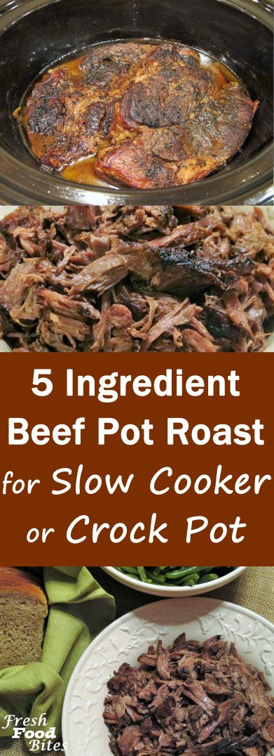 Whether you need to feed a crowd or just want to make a big batch of meat to use for a couple meals or freeze for later, this 5 Ingredient Beef Pot Roast for Slow Cooker or Crock Pot will have you covered. It's full of flavor and has a deliciously easy built in au jus to keep the meat juicy as ever. With just 5 ingredients (in addition to a few pantry staples), this recipe is a snap to make.