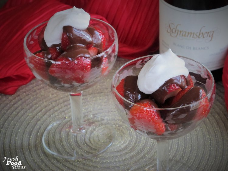 Easy Valentine's Dessert for Two (Drunken Strawberries with Chocolate Ganache and Whipped Cream)