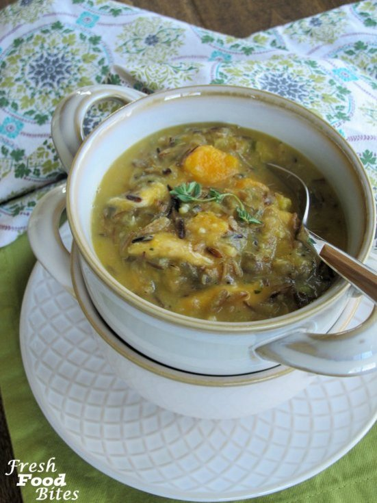 For a velvety rich, veggie-packed healthy soup, try this Creamy Chicken and Wild Rice Soup. It will warm your heart and soul no matter what the weather is like outside. It's got all the goods – health boosting vegetables, tender chicken, wild rice, and guess what? Even though it looks like there would be a lot of cream or milk, there's not a single drop. This soup is thickened with pureed vegetables, which makes it perfect for people who don't tolerate dairy but still want a creamy wild rice soup.