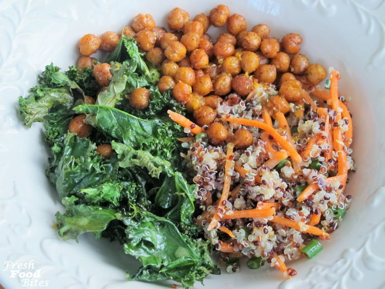 With a fresh mix of uber healthy ingredients and a variety of textures and flavors, these Crispy Kale and Quinoa Bowls with Roasted Chickpeas are anything but boring. From the chili spiced chickpeas to the lemon-orange dressing, each bite is a celebration of well-matched flavors. These bowls are filled with quinoa, chickpeas, and kale, making them the perfect meal to toss together you're in need of a heavy dose of good nutrition.