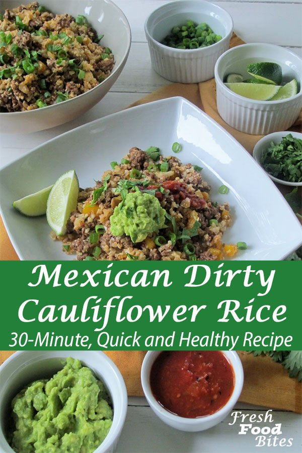 Save this Mexican Dirty Cauliflower Rice recipe for the next time you need a 30-minute, quick and healthy recipe to make sure you get a nourishing dinner on the table. It's got all your favorite Mexican flavors wrapped up into one quick and easy meal that is family friendly and healthy too. Using cauliflower rice instead of actual rice is a great way to boost your vegetable intake without feeling like you're eating vegetables.
