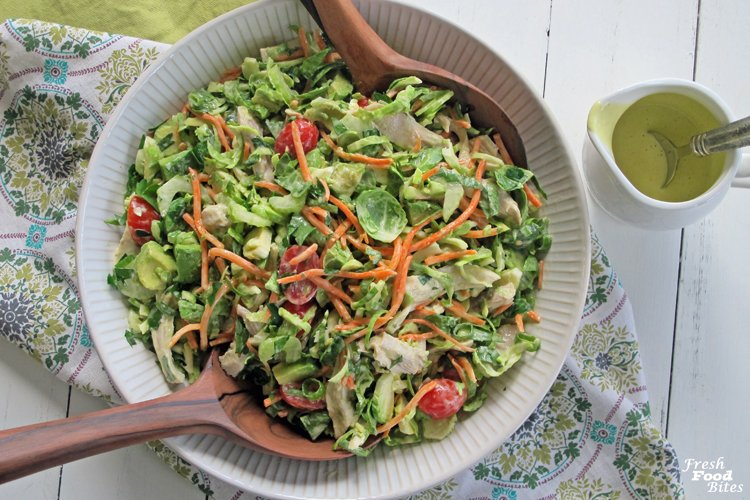 For a hearty post-Thanksgiving salad that will help you use leftover turkey, make this Fresh Brussels Sprouts and Turkey Chopped Salad. It is full of nutrition and has so much flavor from the creamy roasted garlic dressing, you're sure to feel full and satisfied after eating a serving of this salad.
