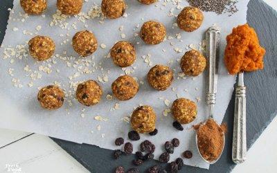 Gluten-Free No-Bake Oatmeal-Raisin Pumpkin Energy Bites