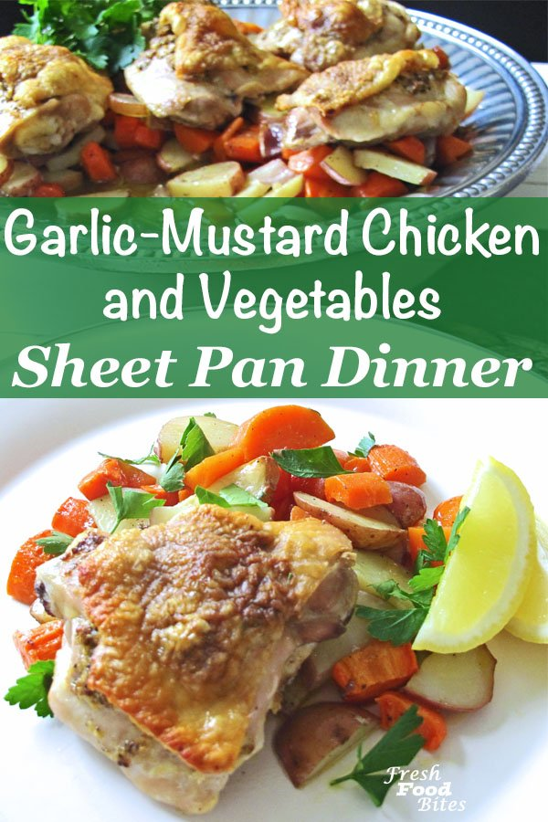 For a quick and healthy sheet pan dinner with vegetables everyone loves, make this Garlic-Mustard Chicken and Vegetables Sheet Pan Dinner. It's got carrots and potatoes, and I know very few (if any!) people who won't eat those vegetables. The chicken gets a boost of flavor from a few simple ingredients. This sheet pan dinner is a perfect family-friendly meal!