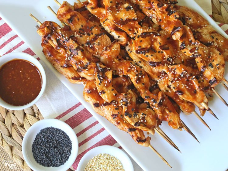 Chicken Kabobs with Chili-Garlic Barbecue Sauce