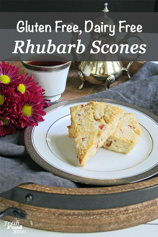 Making brunch this Mother's Day? Be sure to add these Gluten Free, Dairy Free Rhubarb Scones to the menu! With rhubarb season in full swing, it's good to have a variety of rhubarb recipes to make, and these scones have the perfect balance of sweet and tang that makes rhubarb shine!