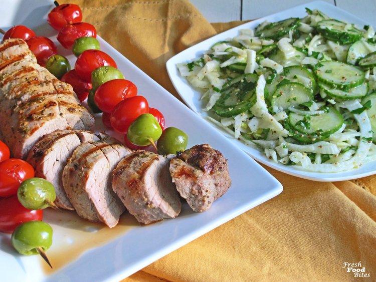Grilled Pork Tenderloin with Marinated Cucumber-Fennel Salad