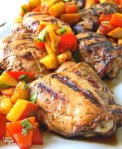 This healthy Herb-Balsamic Grilled Chicken with Peach-Pepper Salsa recipe is the perfect option for a fresh, summer meal. You can choose chicken thighs or chicken breast tenderloins, whatever your family prefers. With an herb-based marinade that helps keep the chicken juicy and tender and a summer fresh peach salsa to top it all off, you'll want to make this recipe again and again!