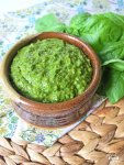 While traditional pesto has cheese, this easy vegan Dairy Free Basil Pesto has no cheese and is also nut free, but, don't worry, the flavor is all there! Use this healthy homemade basil pesto with pasta, chicken, fish, pizza, or any other meals you love to use pesto for!