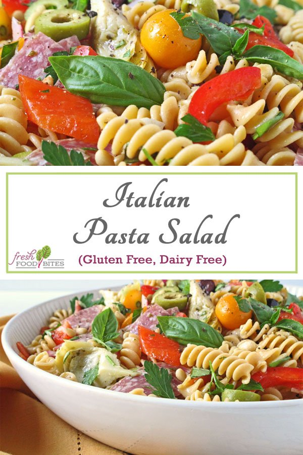 All of your favorite Italian flavors come together in this easy, healthy gluten free and dairy free Italian Pasta Salad recipe. Even though it doesn't have cheese, many of the other ingredients make up for it by adding so much of their own flavor. From marinated artichoke hearts, to olives, and salami, this salad is packed with flavor so you won't feel deprived!