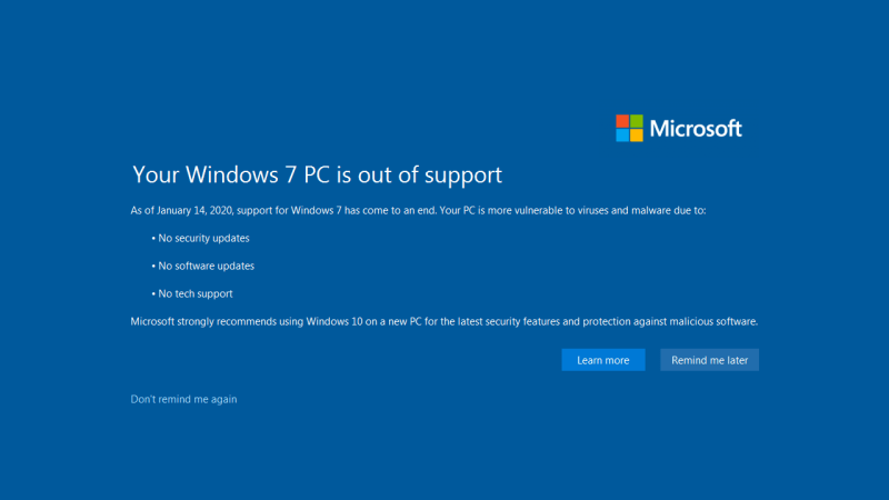 windows 7end of life and support end message by Microsoft original