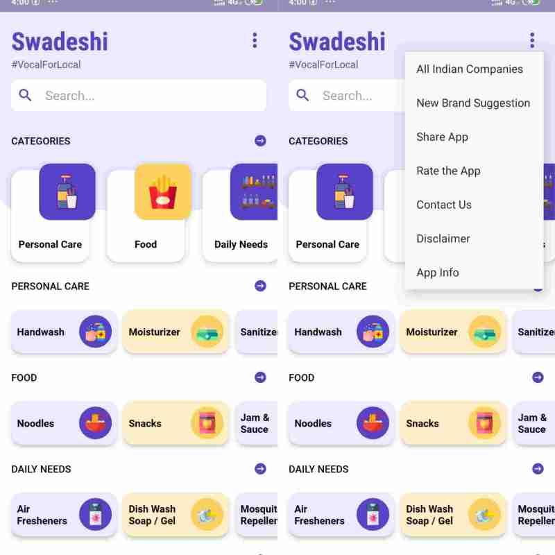 swadeshi app proudly made in india by bityantra opening window and menu options image