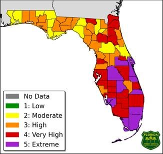 Forecast Fire Danger Index for March 22, 2018