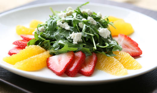 Florida Arugula and Goat Cheese Salad with Citrus and Strawberry