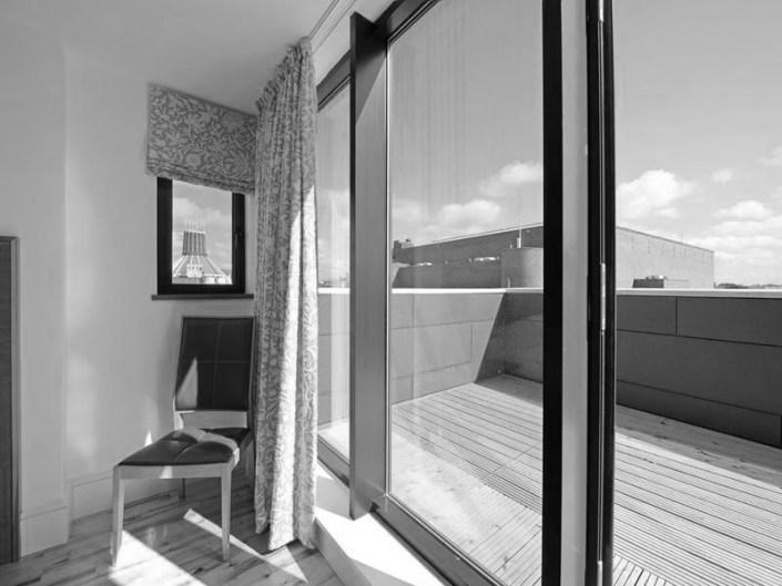 Black and white hotel room windows