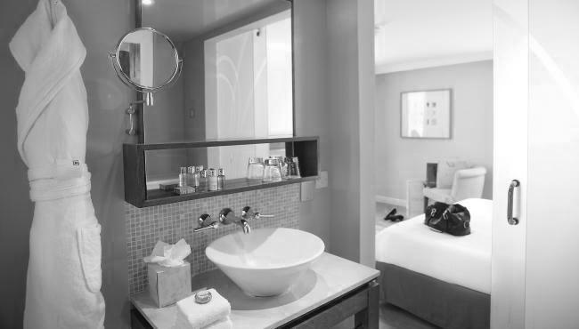 Hotel bathroom interiors black and white