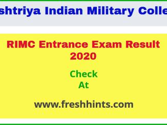 RIMC Entrance Exam Result 2020