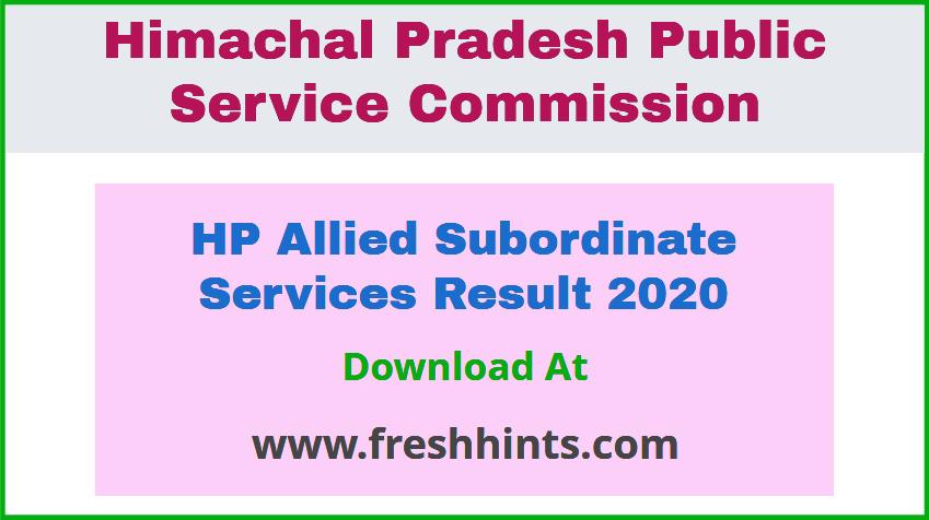 HPPSC Allied Subordinate Services Result 2020