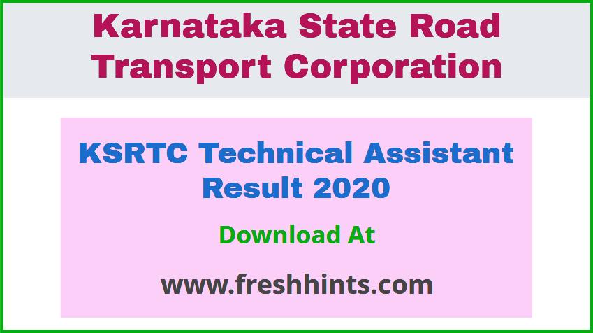 KSRTC Technical Assistant Result 2020