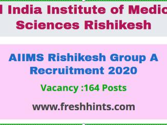 AIIMS Rishikesh Group A Recruitment 2020