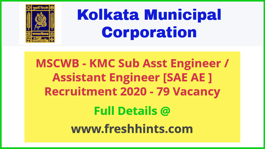 MSCWB – KMC Sub Assistant Engineer Recruitment 2020
