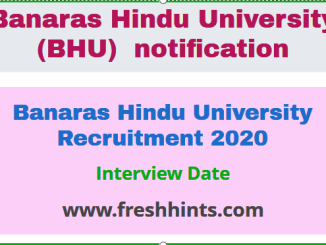 Banaras Hindu University Recruitment 2020