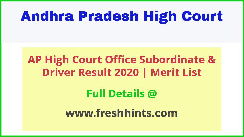 Andhra Pradesh High Court Office Subordinate Posts Result 2020